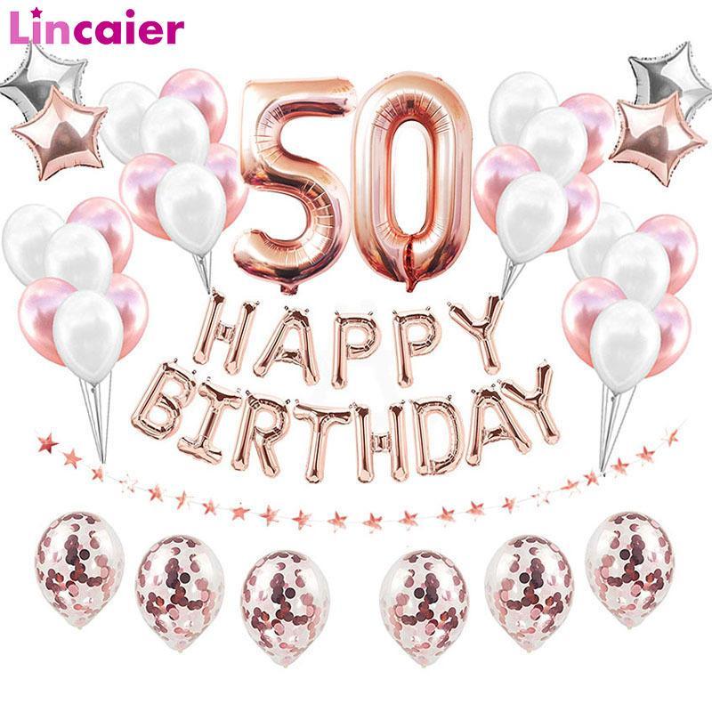 38 stücke 32inch Happy 50 Geburtstag Folie Ballons Rose Gold Blau Rosa Nummer 50. Jahre Alte Party Dekorationen Mann Frau Supplies F1219