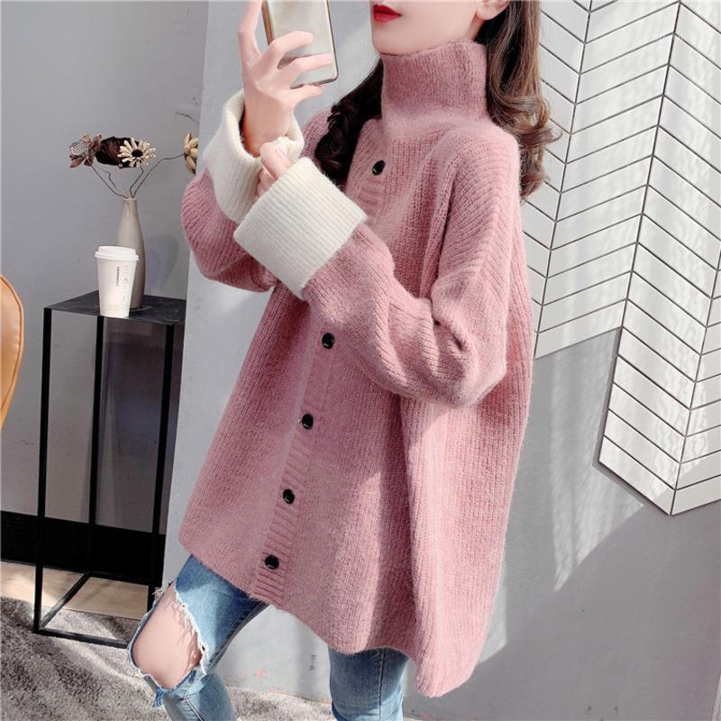 Casual cuello alto suéter de punto femenino damas cálidas solo suéter pecho otoño invierno manga larga jersey jersey 20211