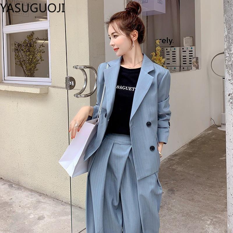Yasuguoji Nuevo 2021 Moda Doble Blazer Blazer y Harem Pants Trajes de la oficina de la oficina Lady Blue Blue 2 pieza Pantalones de pantalón Famale