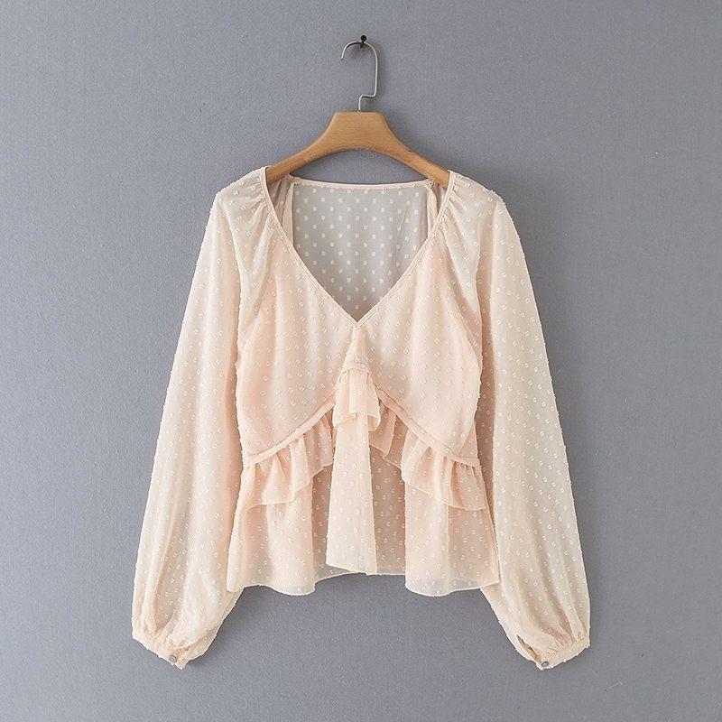 Nuevas mujeres V Cuello Dots Design Cascada Ruffles Shirts Blusas Mujer Linterna Manga Chiffon Roupas Femininas Camisa de Chemise LS4157 201201