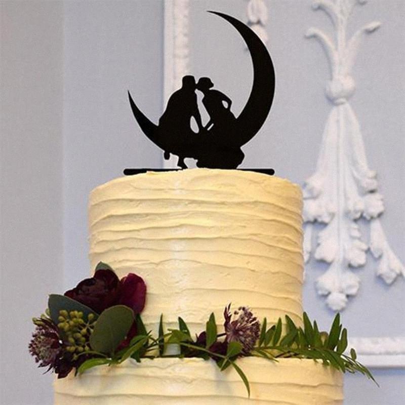 Gâteau de mariage en acrylique noir Topper Embrasser Epoux gâteau stand Topper amour lune de mariage Décoration ox2S #