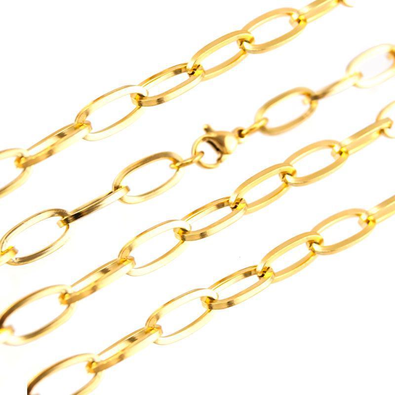 Zincirler Gümüş Renk / Altın Renk Paslanmaz Çelik Oval Zincir Gerdanlık Kolye Kadın Erkek Toka ile Metal