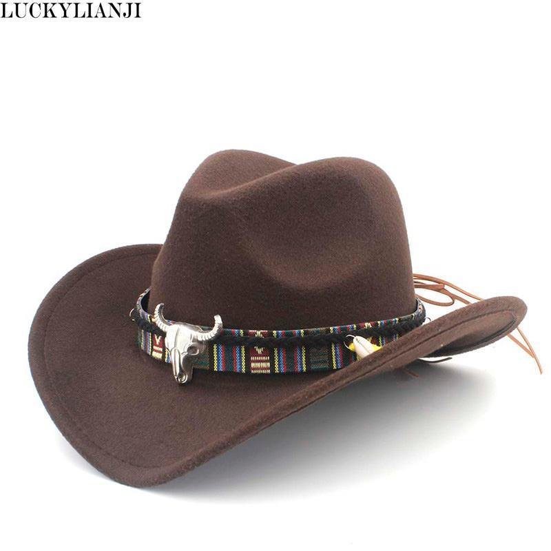 LUCKYLIANJI 아이 키즈 소년 소녀 양모 펠트 100 % 서양 카우보이 모자 챙이 넓은 카우걸 암소 머리 가죽 밴드 (한 사이즈 : 54cm)
