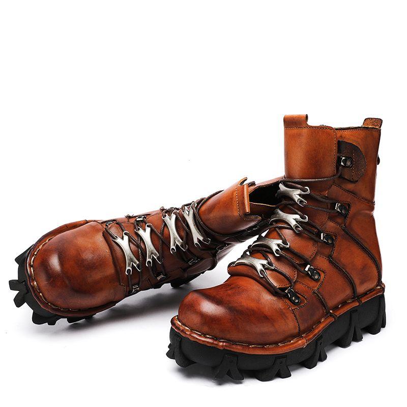 2020 botas de invierno botas de cuero genuino de la motocicleta de los hombres del tamaño grande Militar Botas Hombre 15 # 20 / 20d50