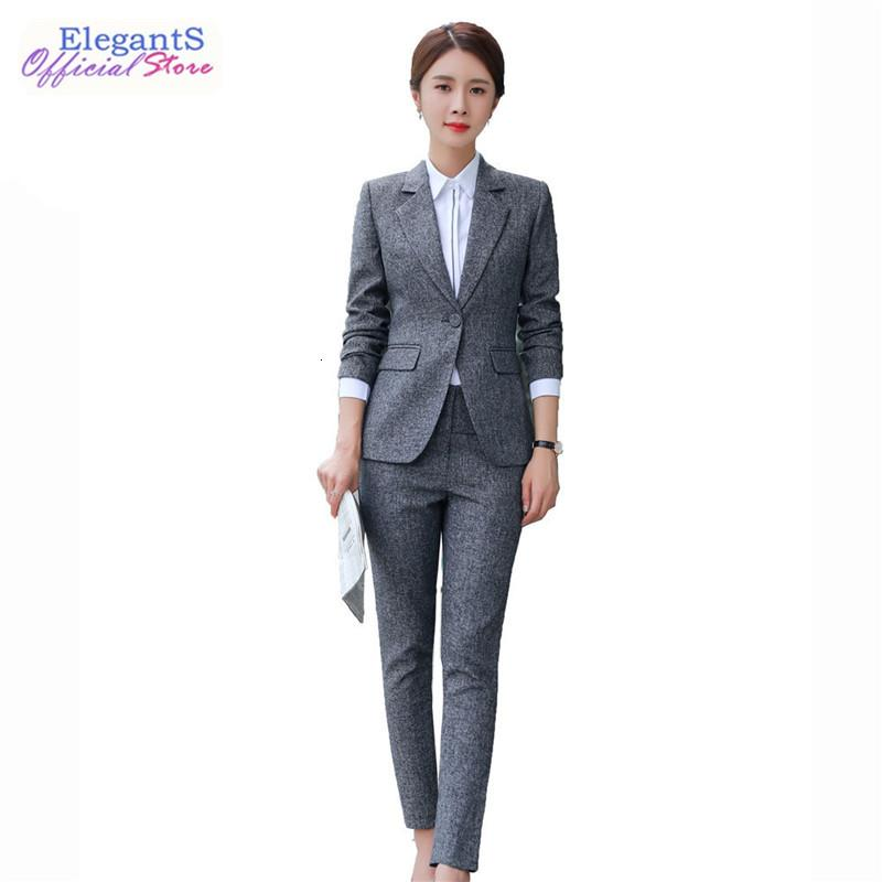 Elegante Büro Dame Formale Anzug Frauen Business Work Hose Anzüge Schwarz Blazer Set Weibliche 2 Stück Jacke Hosen Troschnerrs Mantel