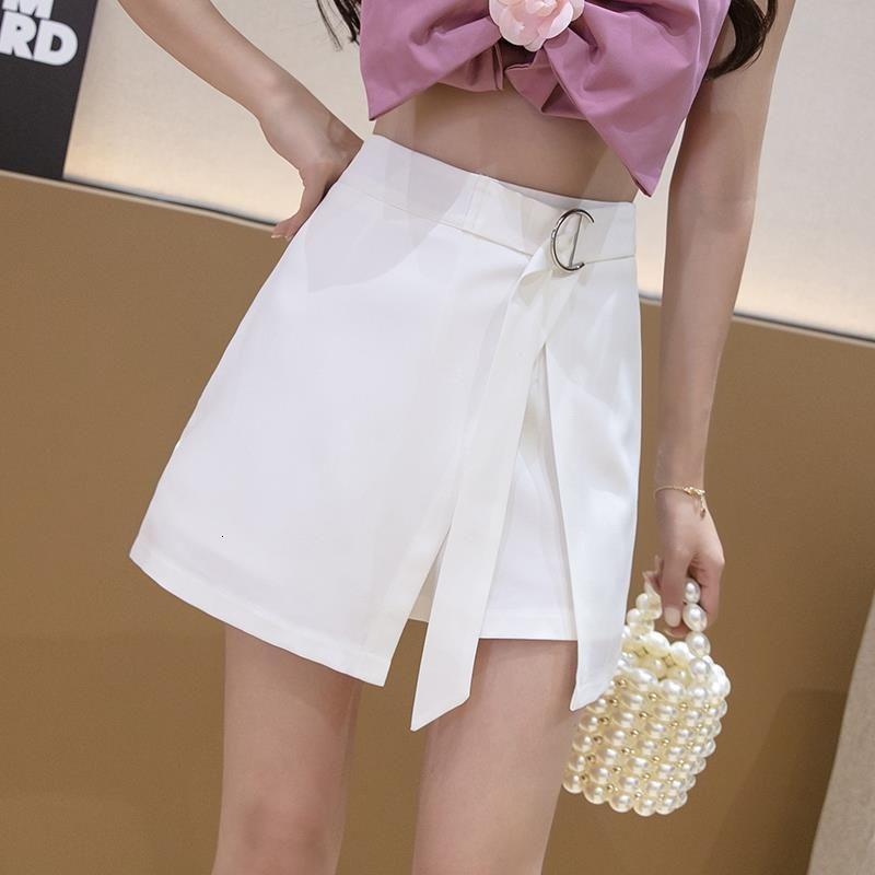 Yaz Streetwear Düzensiz Bölünmüş A-line Etek Şort Lace Up Yüksek Bel Kadınlar Katı Renk Şort Moda Casual Kısa Pantolon