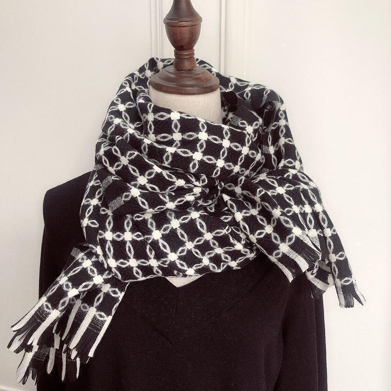 RoyalMayBe imitazione Cashmere Sciarpa Femmina Inverno Studente Svilt Bianco E Bianco Plaid Plaid spessore caldo Scialle Dual-Uso