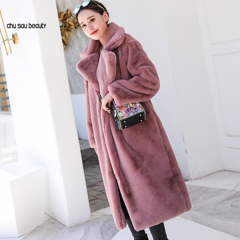 Mujeres de invierno de alta calidad Abrigo de piel de imitación de alta calidad Abrigo de piel larga de lujo de solapa suelta abrigo grueso grueso cálido más tamaño hembra peluche abrigos