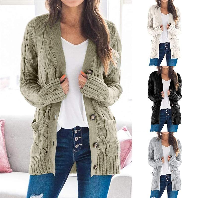 2020 outono inverno quente malha Cardigan Mulheres manga comprida Camisolas Casual Brasão camisola de malha frouxa bolso Casual Jumper Top