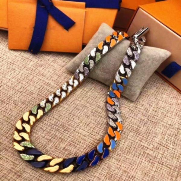 Diseño superior El collar clásico Diseño de joyas de lujo Diamante 316L Titanio Acero grabado de color esmalte de esmalte de cadena gruesa parches Pulsera
