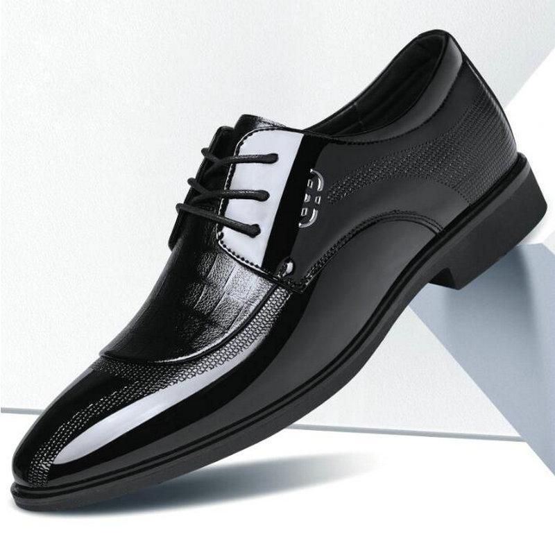 Zapatillas de vestido de punta de hombre PRODUCTOS CLÁSICOS Derbies NUEVOS Zapatos italianos Oxford para hombres de lujo para hombre Patente de patente Boda A53-091