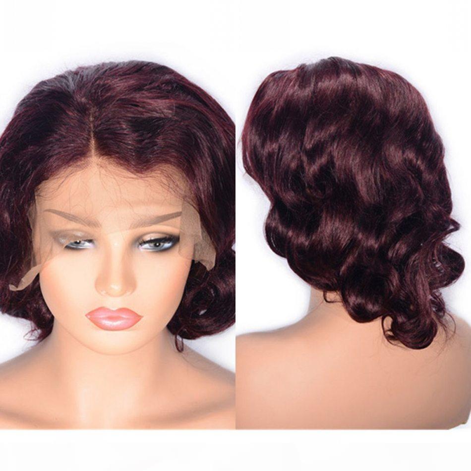 99j Menschenhaar-Spitze-Perücken mit Baby-Haar 130% Dichte Burgund Wellenförmige brasilianische Glueless Spitze-Front-Perücke
