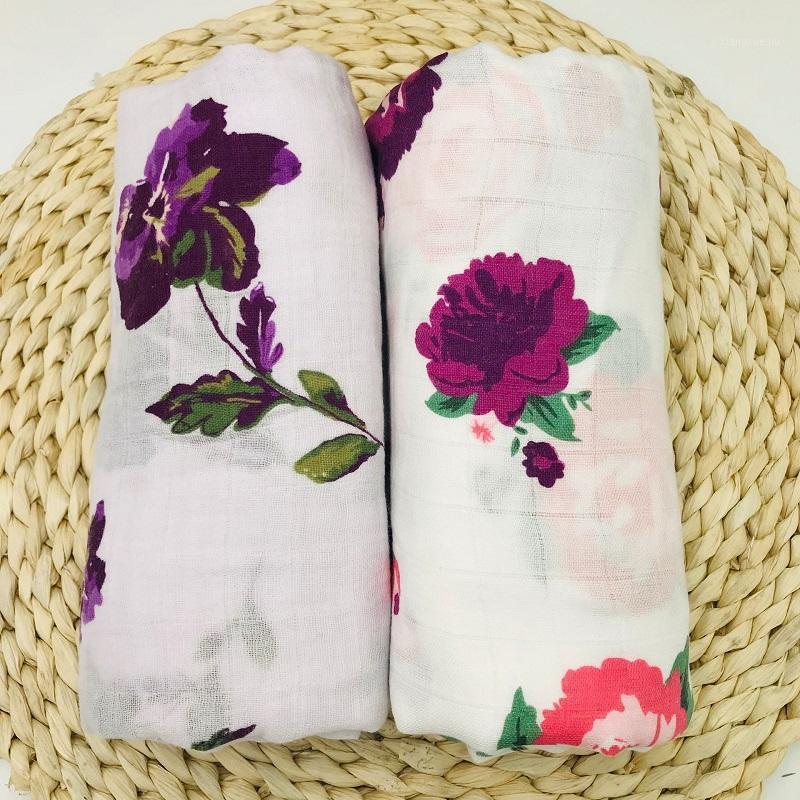 Bamboocotton Muslin Manta bonita floral bebé ropa de cama BAÑO Toallas recién nacidos Swaddle Wrap Wrap Whermet para niños niñas1