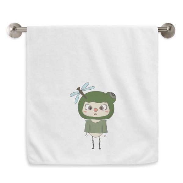 Animal croak naturaleza verde mosca uu mano toalla baño facelloth suave algodón lavabo