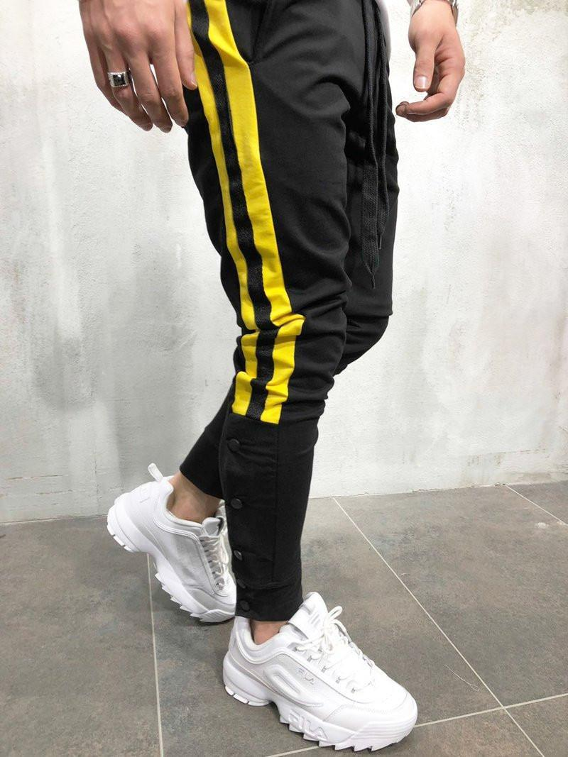 Hombre caliente Sweachs Swey Stripe Hip Hop Track Pantalones Calle Wear Skinny Jogger Sweetpants Elástico Cintura Masculino Pantalones Casuales