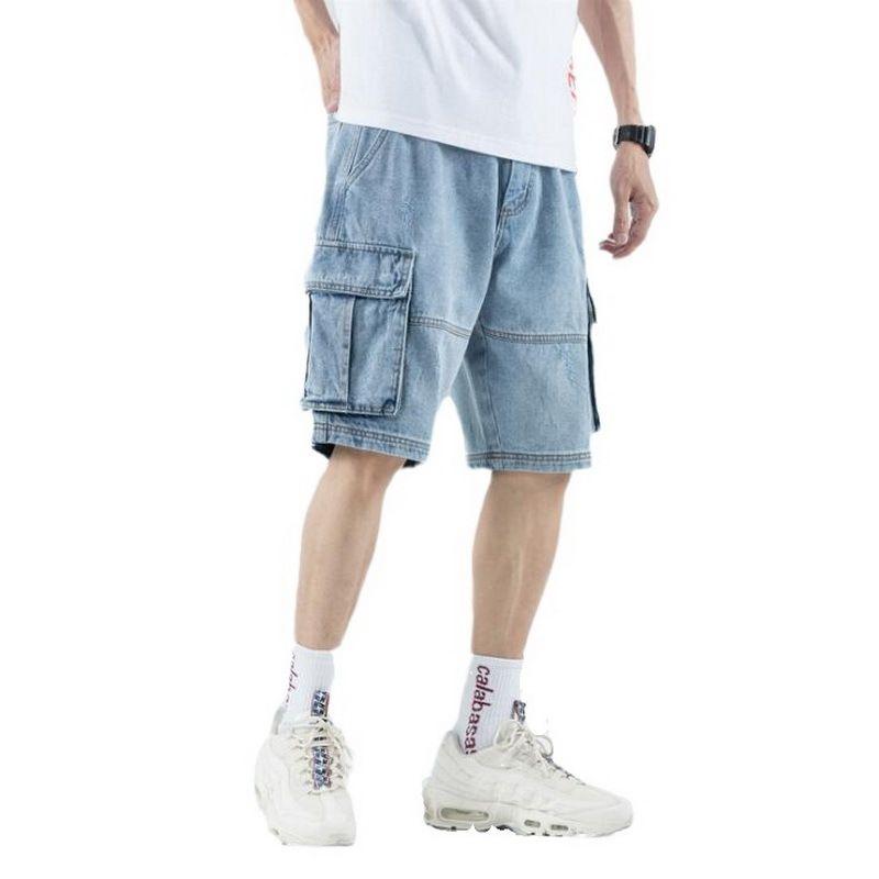 Yaz Açık Mavi Denim Şort Erkekler Jeans Delik Gevşek Düz Geniş Bacak Buzağı-Uzunluk Pantolon Erkekler Buzağı-Uzunluk Jeans