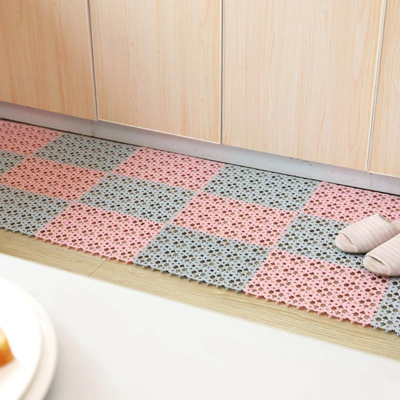 Plastik Mutfak Mat Kaymaz Oturma Odası Balkon Banyo Katı Renk Halı Paspas Koridor Banyo Ekleme Mat Halı VT1863
