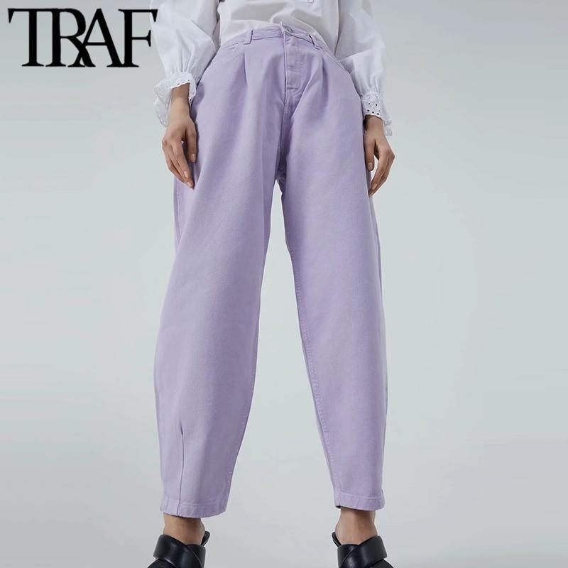 TRAF Mujeres Jeans Chic Moda Bolsillos de la Cintura Alta Denim Harem Pantalones Vintage Cremallera Mosta Streetwear Femenino Pantalones Jean Mujer C0116