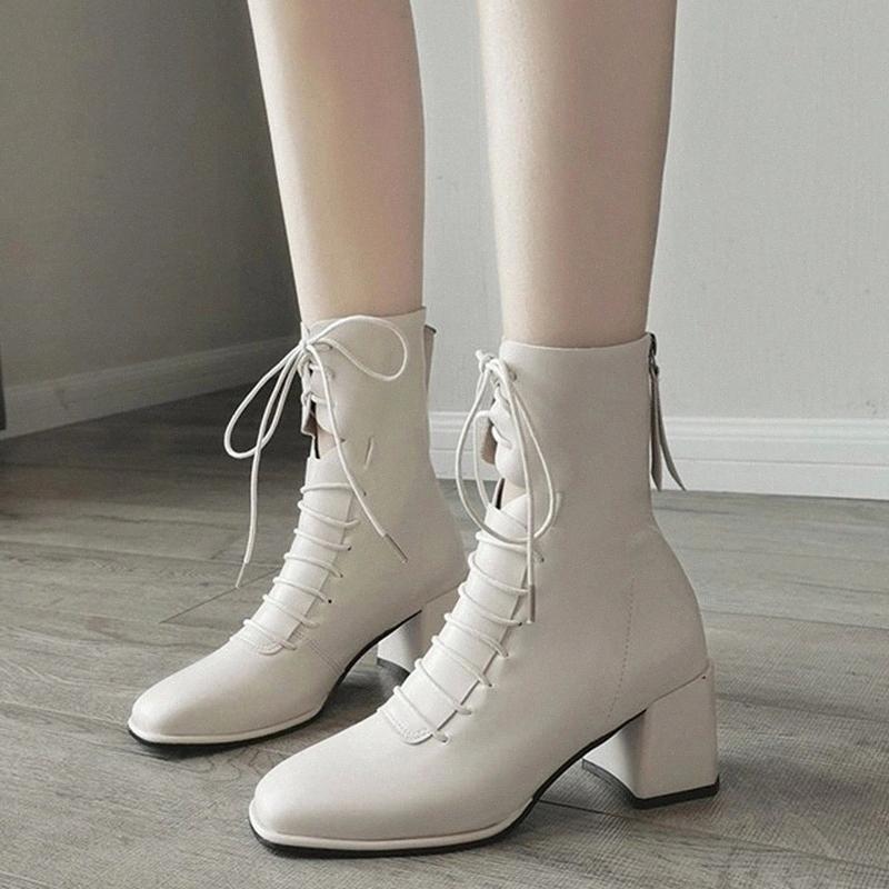 Rimocy Moda Kadınlar Için Deri Ayak Bileği Çizmeler Oymak Yeni Çapraz Kayış Kare Toe Botas Mujer Rahat Mid Topuk Ayakkabı Kadın # WM1A
