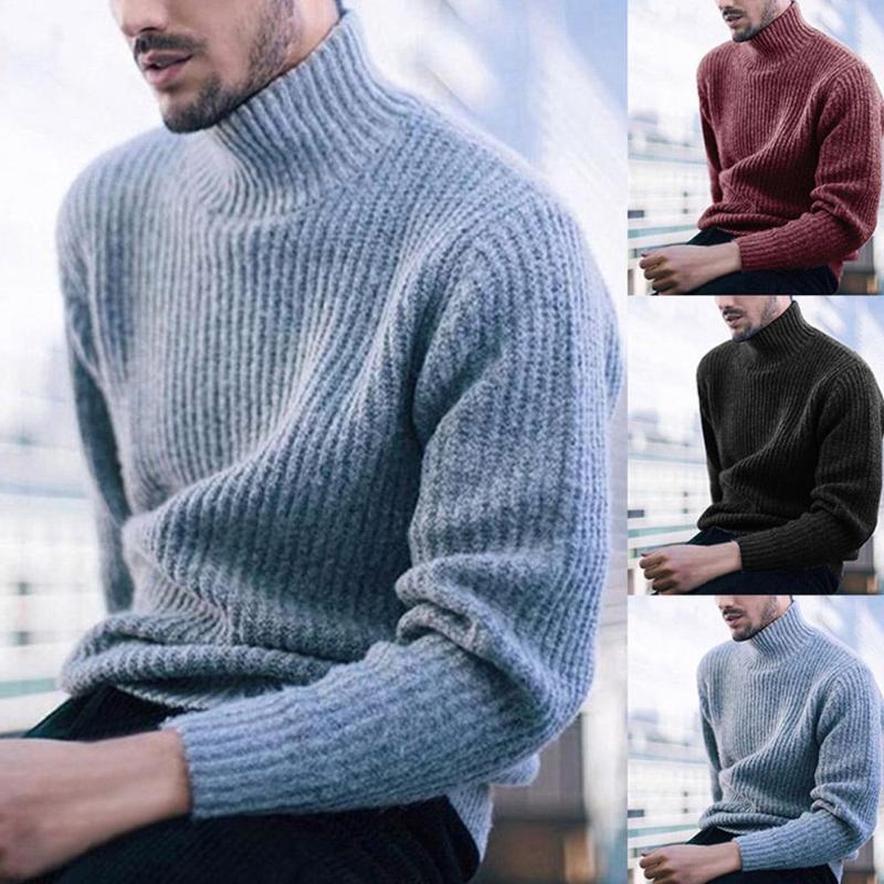 Ropa E-BAIHUI manera de los hombres suéteres ocasional sólida de color de cuello alto de manga larga suéter hecho punto punto de los hombres