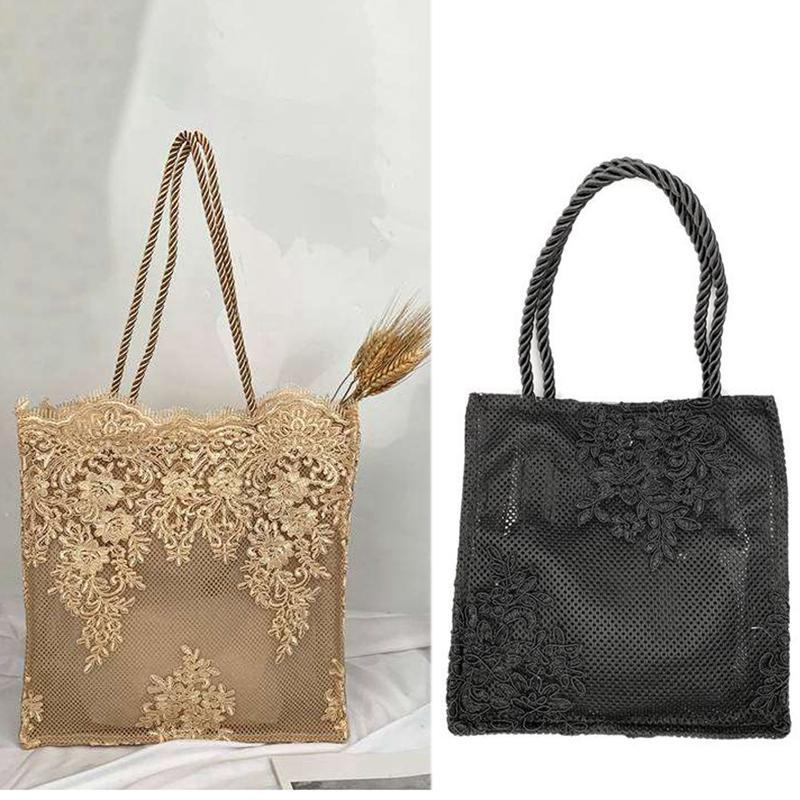Praia bordado Lace Bolsa de Nova Moda Ombro Straw Bag Mulheres