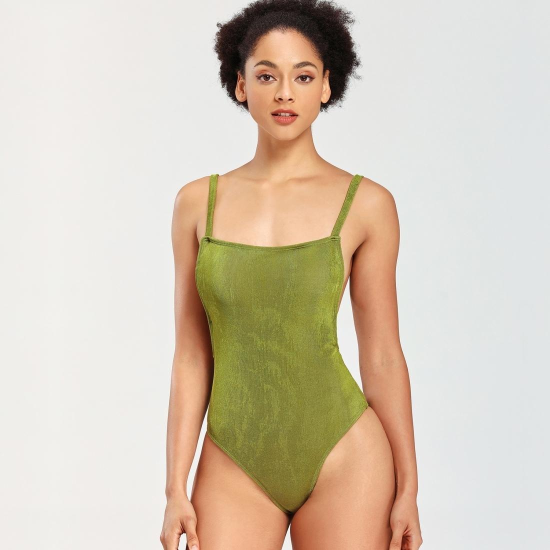 Kadınlar Katı Renk Tek parça Yelek Bikini Mayo