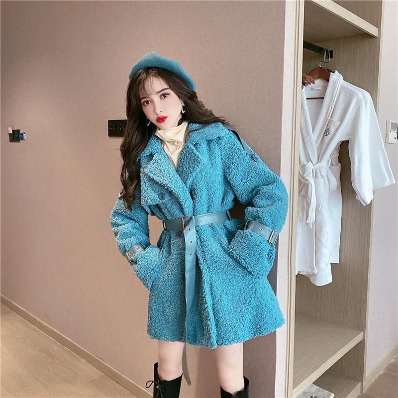 Женский меховой из искусственного из искусственного зимы голубого куртка женские 2021 зима двубортное пушистое пальто женщина корейский стиль элегантный тонкий пальто