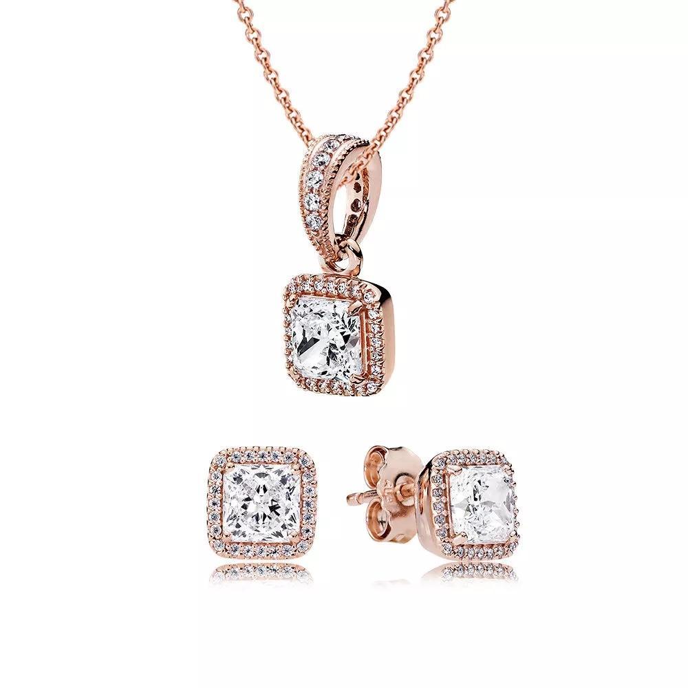Novo 100% 925 prata esterlina rosa atemporal elegância presente conjunto ajuste charme colar original feminino jóias duas peças de conjunto