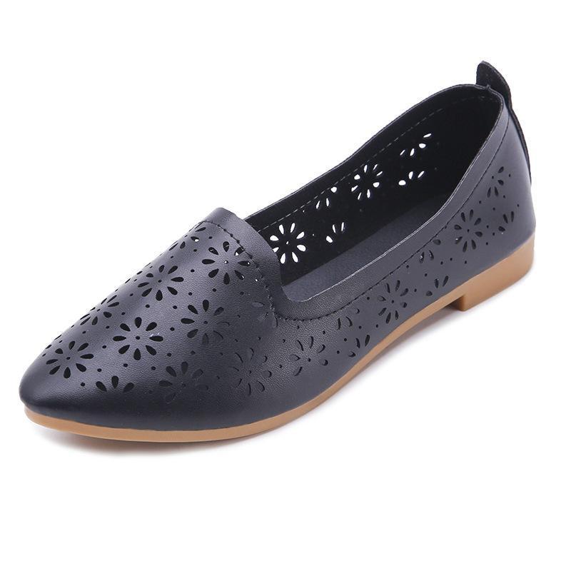 Set Version von 2020 Sommer Füße Seiche Damen spitzige Hohlsandalen Neue Sandalen Niedrige Ferse Atmungsaktiv Koreanische flache Frauen Mund RJVBW