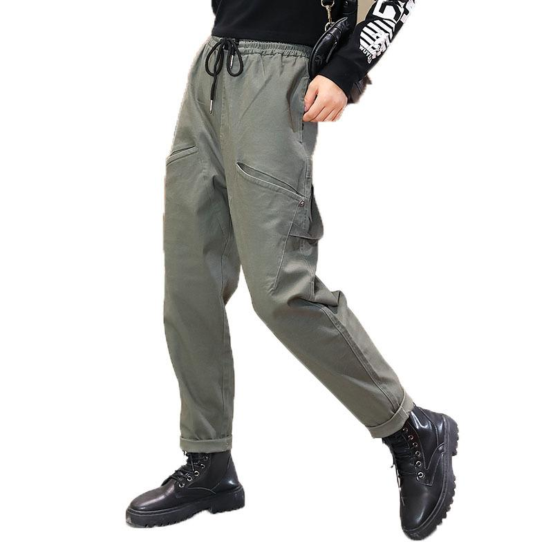2021 New Girls Cargo Pants Spring Autumn Solid Color Kids Cotton Trousers Teenage Clothing Elastic Waist Teens Cargo Pants F0130