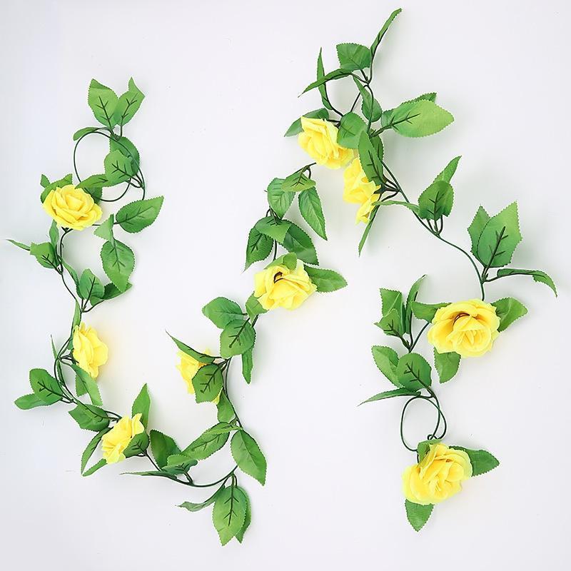 Home Künstliche Rose Reben Blatt Girlande Grün Rattan Gefälschte Blumen simuliert 2.4m1