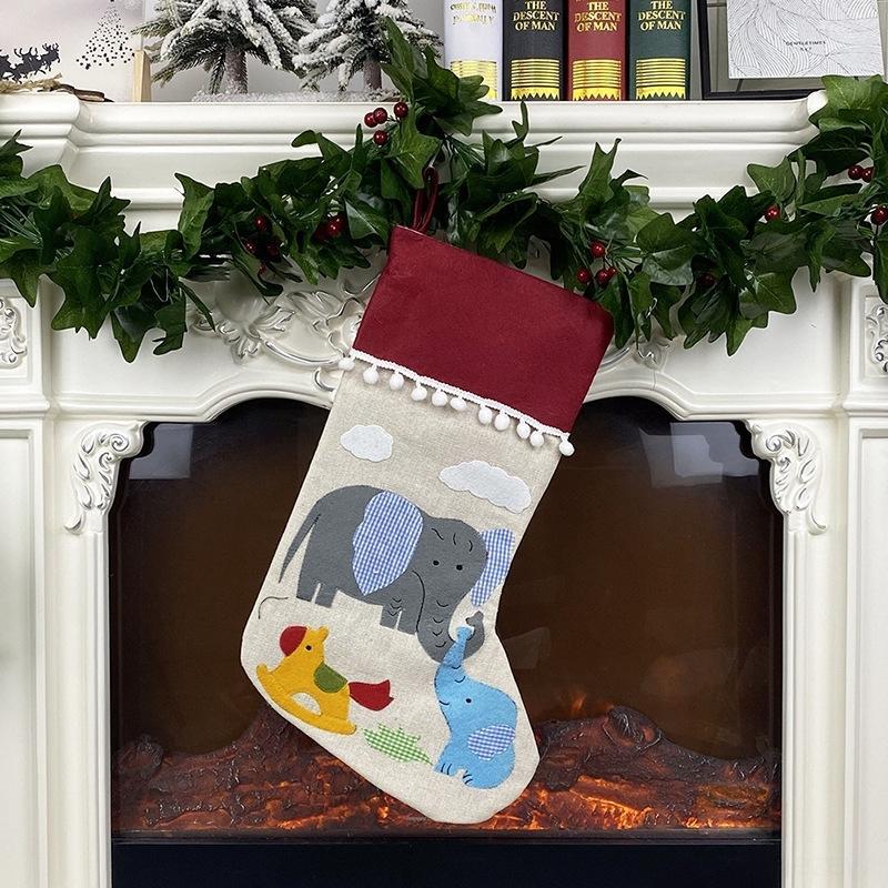 Meias Saco do presente de Santa titulares Printing Jxnks Noel boneco de neve bolsas dos doces Meias Xmas Ornamento de suspensão Decorações de Natal DHD