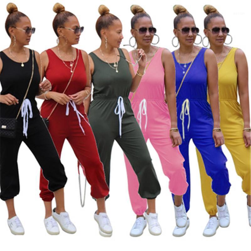 Kolsuz Yuvarlak Yaka Rompers Tasarımcı Giyim Moda Casual Katı Renk Spor Tulum Seksi İnce İpli Tulumlar Kadınlar