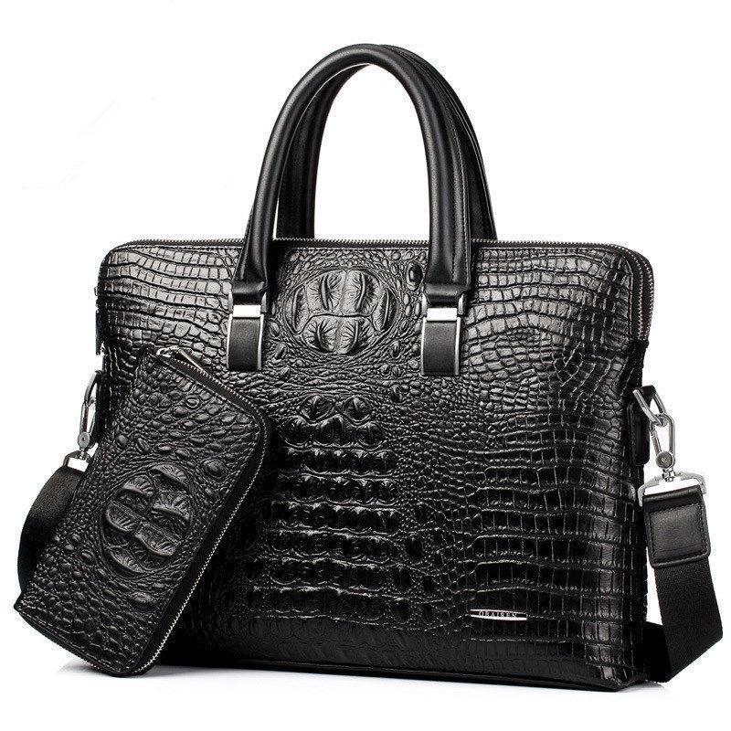 Men's Single Freizeit Horizontal Business Messenger Handtasche Schulter Tragbare Reißverschluss Doppel Aktentasche Krokodilbeutel Iftuj