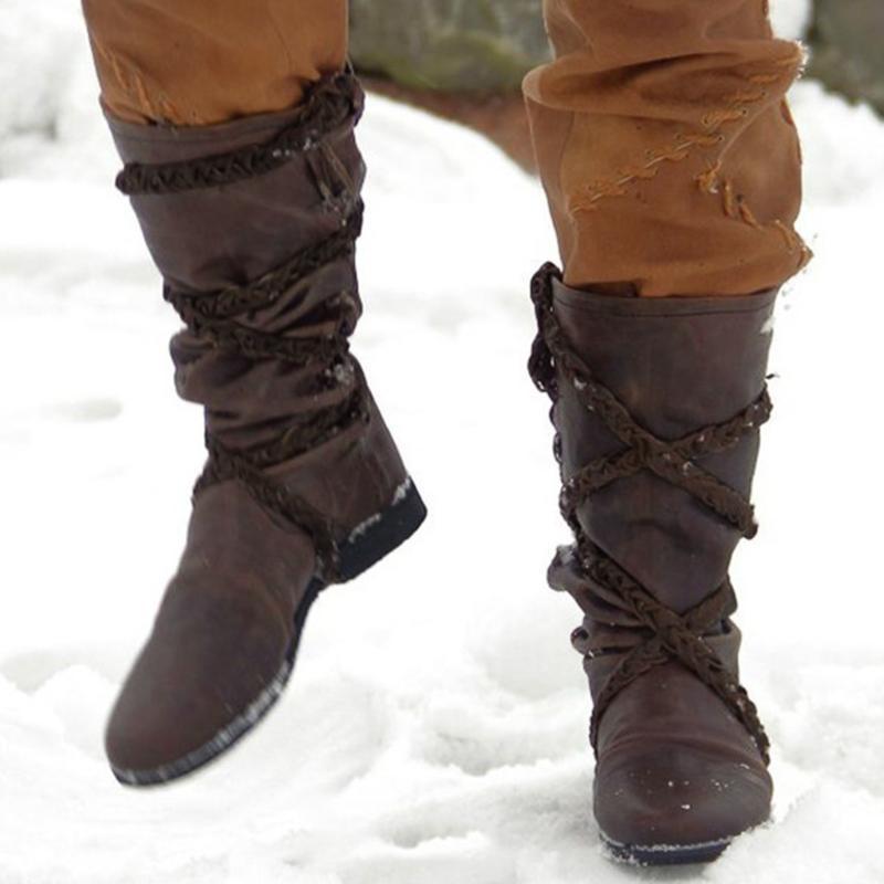 vendimia mediados de la pantorrilla botas de tacón alto-bajo de cuero con cordones de las botas de vaquero de las mujeres para las mujeres Ronda dedo gordo del pie tamaño de los zapatos # G2