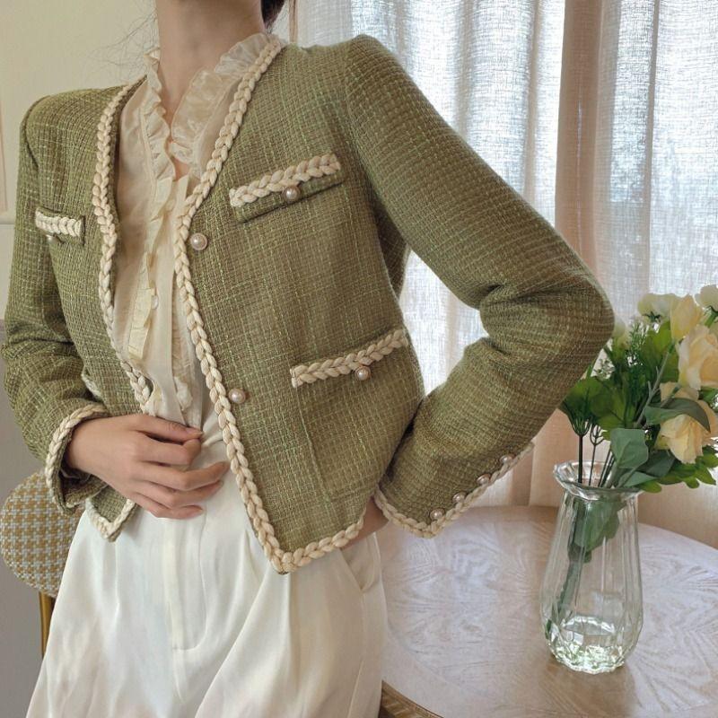 Moda Kawaii Doce Casaco Mulheres Tweed Feminino All-Match Estilo Curto 2020 Outono Inverno Coreano Loose Top Trabalho Casaco Outerwear