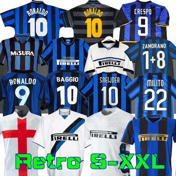Finais 2009 10 Milito Sneijder Zanetti Retro Soccer Jersey Football 97 98 99 Djorkaeff Bagio Ronaldo Adriano Eto'o 10 11 02 03