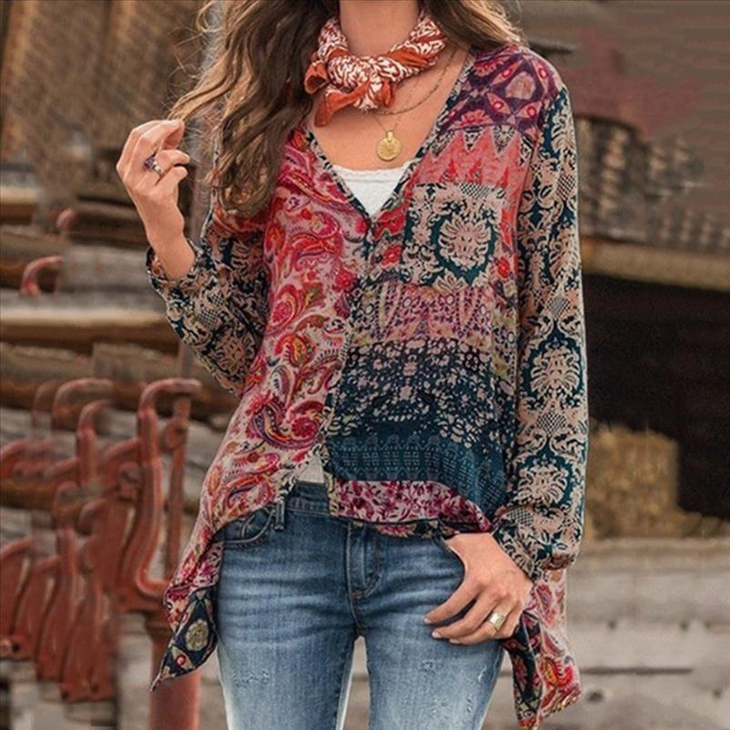 Feitong Plus Size 5xl Blusen elegante Frauen Bohemian Shirts V Ansatz lange Hülsen-Druck-Bluse Sexy lose Shirts Unregular Tops