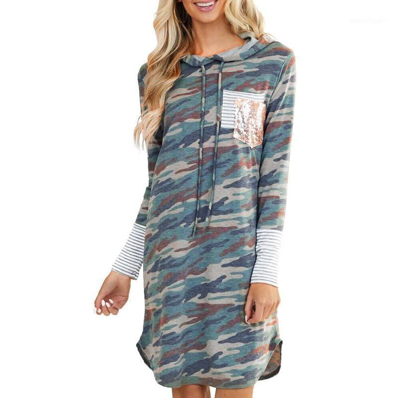 Stripes de loisirs pour femmes camouflage imprimé à capuche à manches longues décontractées robe à capuche couture couture à manches longues Dames Juken # T2G1