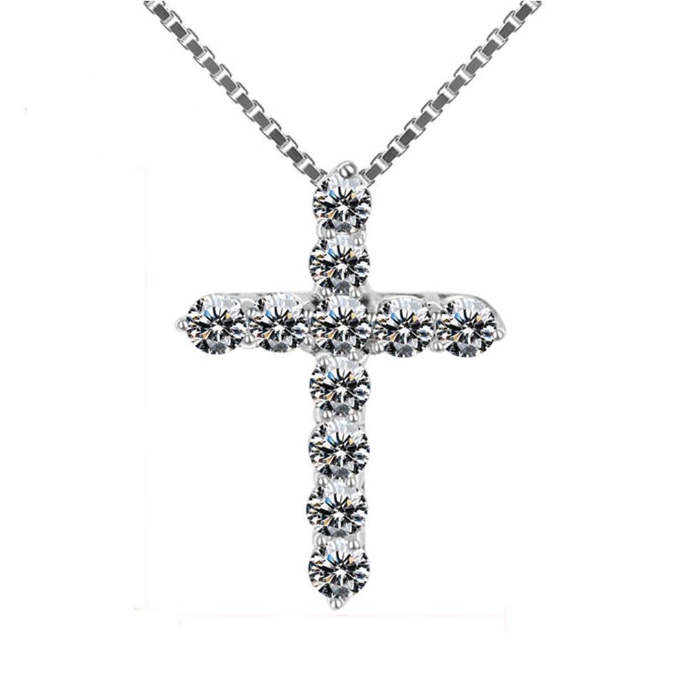 Cubic LUXUXzircon Kreuz Anhänger Halskette 925 Sterling Silber Kreuz Christian Jesus Schmucksachen für Frauen Geschenk