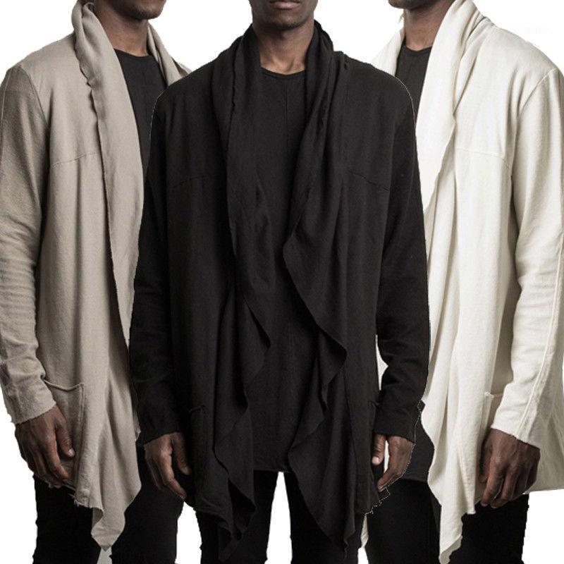 TheLound 2019 Fashion Hommes Trench-coat chaud épaississant la veste de laine de laine de poise de paille longue