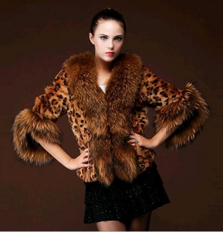 Женские меховые искусственные зимние куртки 2021 половина рукава леопардовые печать пальто с енотным ошейником Casaco de Pele Feminino BF311