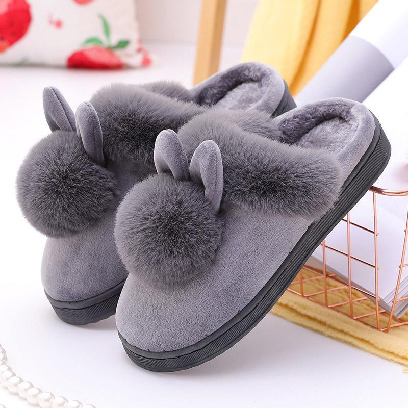 Women Winter Slippers Velvet Snow Female Slipper Indoor Home Shoes Casual Ladies Soft Comfort Shoe Woman Furry Ears Plush