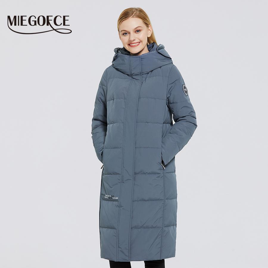 Miegofce 2020 Yeni kadın Uzun Pamuk Mont Miegofce Tasarım Kış Su Geçirmez Parkas Rüzgar Geçirmez Giyim Kadın Ceket LJ200929