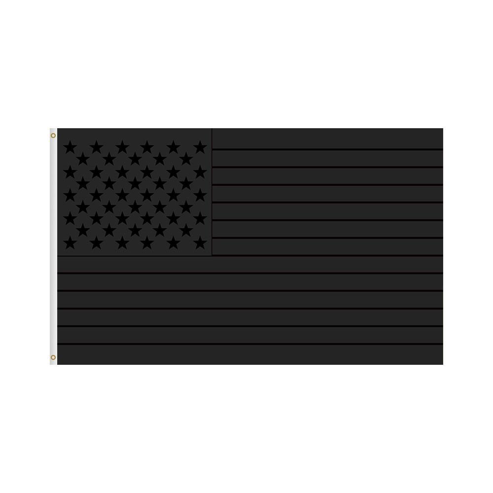 Весь черный американский флаг 3x5 FT Print US США Blackout Tactical Grommet Banner Флаги 90 * 150см GWA3566