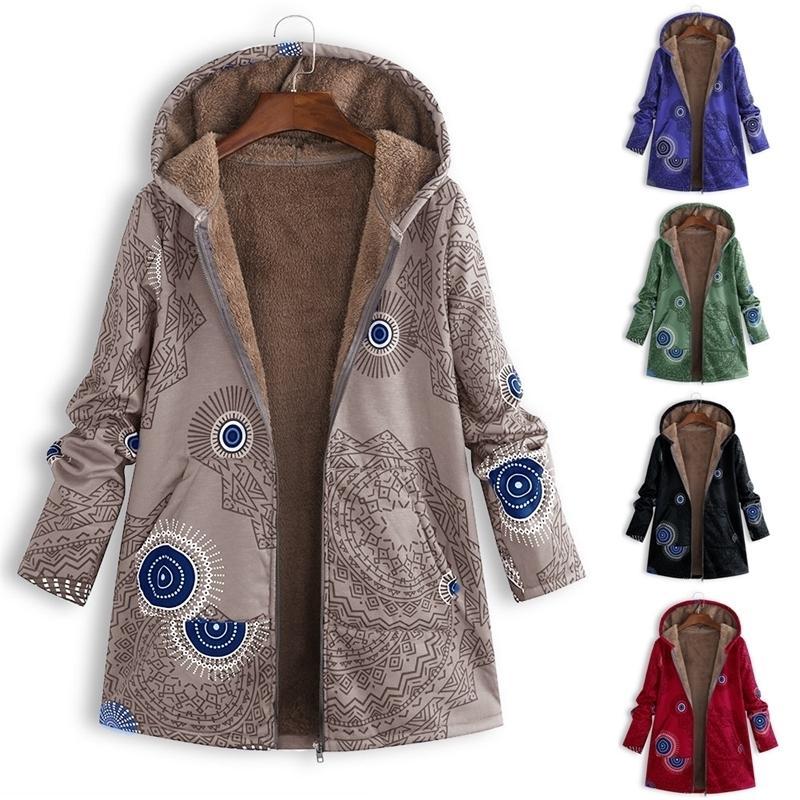 2020 Neue gedruckte Kapuzenpullover Frauen Plüsch Langarm Mantel