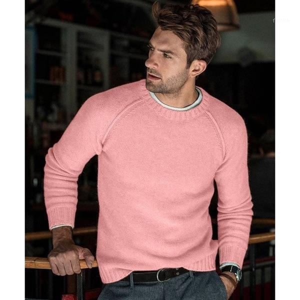 Мужские свитера 2021 новейшие классические дизайны розовый осень зима мужская выречка вскользь теплый мужской тонкий подходящий бренд трикотажный пальто пуловер топ