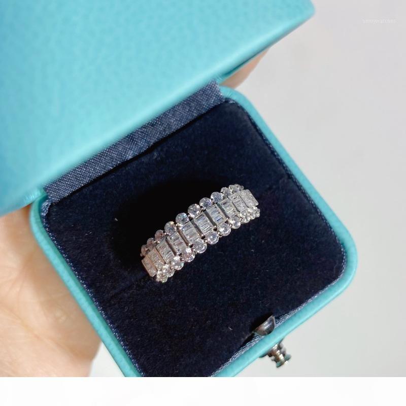Ringe drei Reihen voller Diamantringe Schmuck S925 Sterling Silber für Frauen High Schmuck Weihnachtsfeier Geschenk1