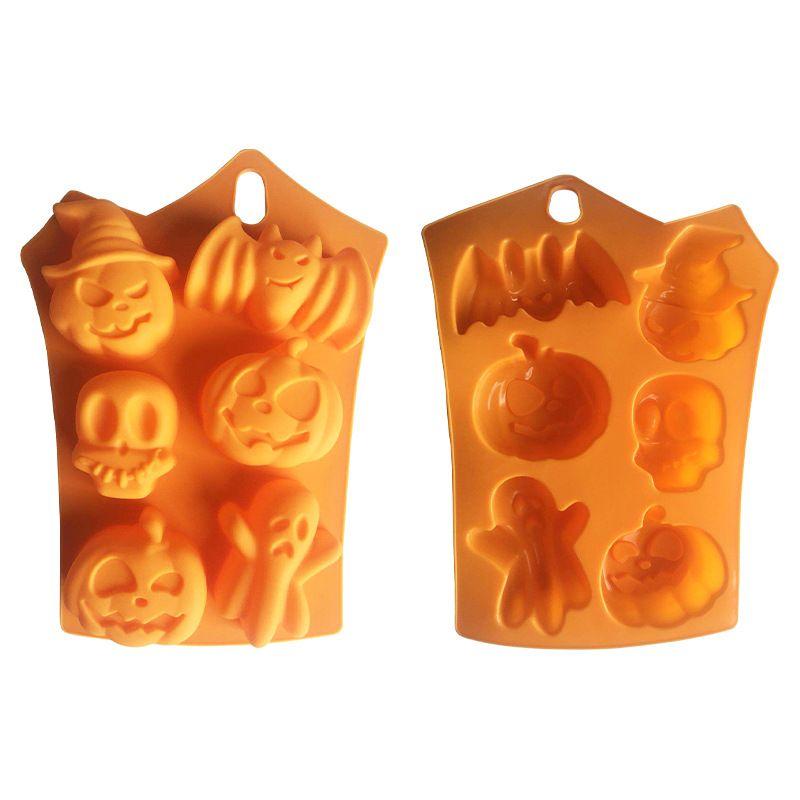 실리콘 오렌지 초콜릿 금형 할로윈 DIY 퐁당 사탕 금형 해골 호박 박쥐 실리콘 쿠키 초콜릿 베이킹 금형 HWD2528