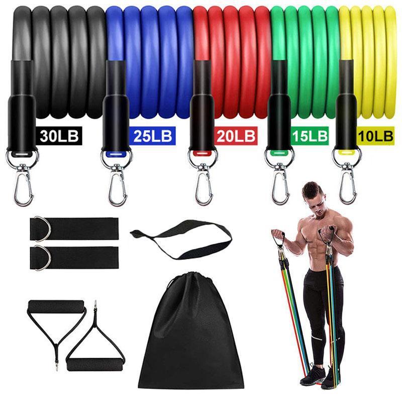 Resistance Bands 11Pcs/Set Latex Pull Rope Band Crossfit Loop Training Exercise Door Anchor Yoga Tubes Expander Thermal Elastic